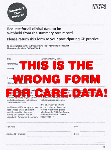Summary Care Record opt out form