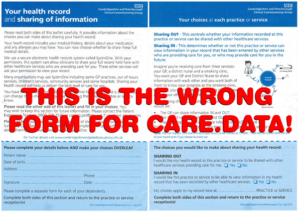 Form for opting out of data sharing via a GP IT system called SystmOne