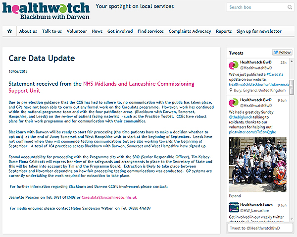 2015-06-10 BwD Healthwatch update